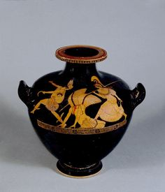An ancient Greek red-figured hydria (water-jar) showing the just-decapitated Medusa, Perseus and the goddess Athena; Perseus wears the winged hat and talaria and carries the Gorgon's head; Athena carries a spear and wears a snake-fringed aegis and helmet. (British Museum)