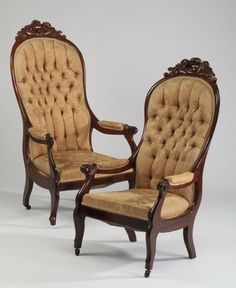 ~ (2) Victorian Button-tufted Mahogany Chairs ~ liveauctioneers.com