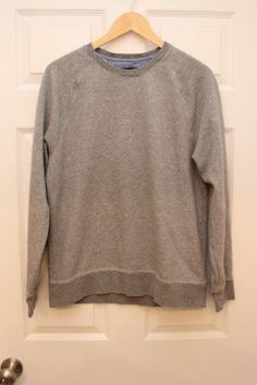 BANANA REPUBLIC Large Men's Gray French Terry Pullover Sweatshirt Top Casual  #BananaRepublic #Pullover