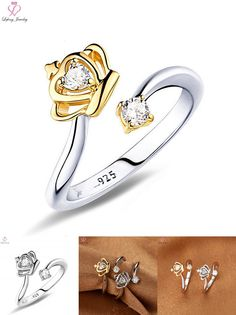 [Visit to Buy] Golden Crown Cuff Silver Plated Ring Claw Ring Set Crystal Wedding Couple Rings Women Forever Love Fashion Jewelry Engagement #Advertisement