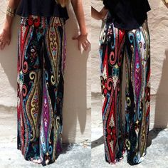 New European Vintage Style Fashionable High Waisted Printed Loose Fitting Exumas Pants For Women Causal Printed Straight Pants