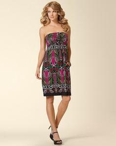 Soma Intimates Knotted Bandeau Dress Fondly Floral Fuchsia #somaintimates