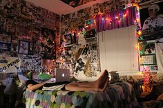 Just like my old room(s) except mine were covered in Lakers and celebrity pictures haha. I miss my twinkle lights too!