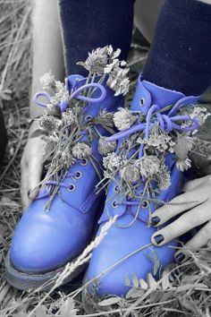 Wildflowers tucked in the laces of Periwinkle boots. Splash Photography, Black And White Photography, Color Splash Photo, Blue Boots, Periwinkle Blue, Jolie Photo, Black And White Pictures, Dr. Martens, My Favorite Color