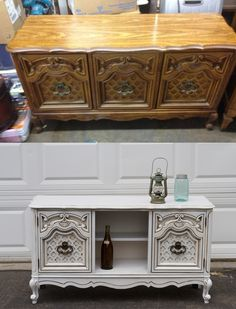 Before and After of my credenza. I bought the credenza off craigslist and knew immediately it had potential to be repurposed. What do you think? Buffet? TV Stand? Hallway table? Tags: DIY Roadside Revivals Repurpose Shabby Chic distressed chalk paint vintage antique