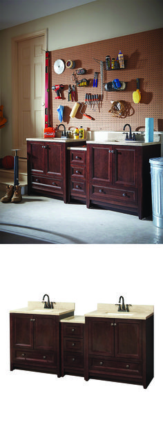 Here's an easy and unexpected way to organize your garage. Click to find out why vanities aren't just for the bathroom anymore.