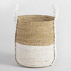 Medium Two Tone Seagrass Bianca Tote Basket: White - Natural Fiber by World Market Coffee Table Accessories, Home Decor Accessories, Decorative Accessories, Sisal, Basket Weaving, Hand Weaving, Rectangular Baskets, Paint Upholstery, Furniture Upholstery
