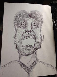 Button eyed screaming man