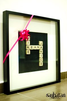Make one of these for a mother or grandma with all her children's/grandchildren's names. Love this idea for when we have a kid...great way to tell grandma and grandpa about the newest edition to the family