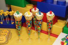 Cute treats at a LEGO party! See more party ideas at CatchMyParty.com!  #partyideas #lego