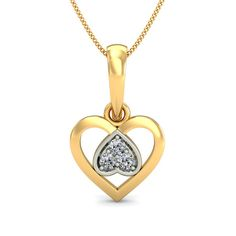 Diamond Heart Pendant Yellow Gold  Love 0.02 Ct Gold