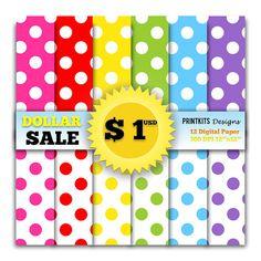 DOLLAR SALE! Instant Download - Big Polka Dots Digital Paper, Rainbow, Printable Polka Dot Paper, Polka Dots Background.  DOLLAR SALE! Regular Price $3.00 USD • Now $1.00 USD  ★Shop more here www.etsy.com/shop/PrintkitsDesigns ★  ------------------------------------------------------------------------------- Regular Price: $ 3.00 USD  This is a set of 12 digital paper sheets in JPG format at 300 dpi for great printing quality. These digital paper sheets can be used in digital scrapb...