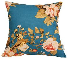 Cotton Floral/Flower Printcloth Decorative Throw Pillow Covers /Handmade Pillow Shams - Many Colors, Sizes Avaliable - Tree Peony -Blue) Navy Flowers, Floral Flowers, Throw Pillow Covers, Pillow Shams, Harper Nursery, Peach Blossoms, Handmade Pillows, Pillow Inserts, Decorative Throw Pillows