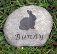 Rabbit Memorial Stone Rock 4-5 Inch Stone Memorial for Bunny Rabbit