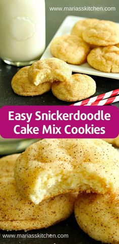 Cake Mix Desserts, Cookie Desserts, Easy Desserts, Dessert Recipes, Cheesecake Recipes, Easy Snickerdoodle Recipe, Recipes Using Cake Mix, Sweets, Christmas Baking