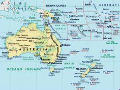 Este es un mapa político de Oceanía. Aquí se puede ver todo, las islas, las capitales, ...