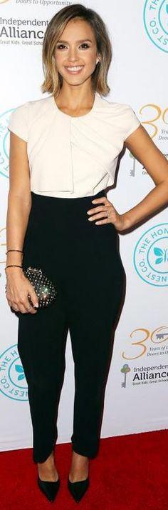 Jessica Alba in Jumpsuit – Melissa Kaye  Jumpsuit – Max Mara  Purse – Christian Louboutin