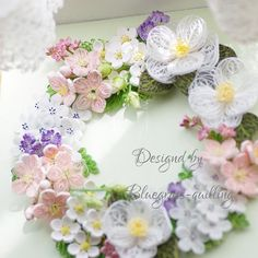 "85 Likes, 9 Comments - bluegrass-quilling (@bluegrass_quilling) on Instagram: ""Cherry blossoms & camellia wreath #quilling #flowerslovers #papercraft #paperart #flower…"""