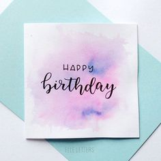 HAPPY BIRTHDAY - HAND LETTERED BIRTHDAY CARD Hand lettered Birthday card on a white, square card with pink and blue accent watercolour background. -Good quality card and pens used white card, white envelopes Card size: 5 -As each card is c Watercolor Birthday Cards, Birthday Card Drawing, Happy Birthday Drawings, Happy Birthday Hand Lettering, Handlettering Happy Birthday, Caligraphy Happy Birthday, Calligraphy Birthday Card, Birthday Letters, Cumpleaños Diy