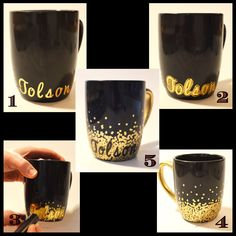 DIY Personalized Coffee Mug with Dollar Tree mug, letter stickers, and glass paint marker
