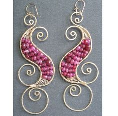 Luxe Bijoux 129 Hammered swirl earrings with by CalicoJunoJewelry