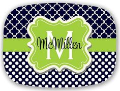 Personalized Melamine Plate, Personalized Plate, Personalized Melamine Platter, Monogrammed Melamine Plate, Monogram Plate, Melamine on Etsy, $37.00