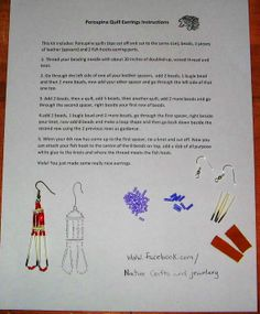 how to make porcupine quill earrings, visit www.facebook.com/Nativecraftsandjewelery
