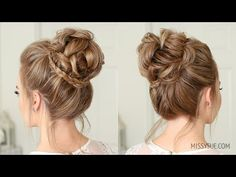 Mini Braid Wrapped High Bun Bridal season is coming up so I thought it'd be fun to share a fancy hig Braided Hairstyles Updo, Diy Hairstyles, Wedding Hairstyles, Hairstyles Videos, Easy Hairstyle, Missy Sue Hair, Medium Hair Styles, Short Hair Styles, Simple Prom Hair