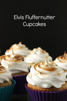 Banana Cupcakes with a whipped peanut butter filling and marshmallow frosting