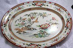 Vintage/Antique Oriental Ivory Transferware Birds Flowers Chinese Plate/Platter