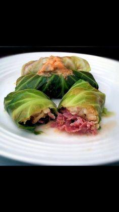Corned beef cabbage rolls (instead of rice, use cauliflower rice and sauerkraut to make Paleo friendly)