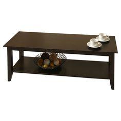 Eco-Friendly Espresso Wood Coffee Table with Bottom Shelf