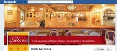 Nuova impostazione per la copertina di Facebook per l'Hotel Gardenia al Passo Tonale che offre ai suoi fan una copertina di benvenuto alla loro pagina Facebook con tanto di drappo rosso.