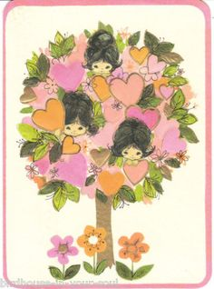 1960's vintage Valentine card featuring little girls and hearts in a tree - Hallmark card.