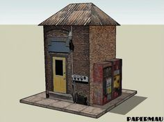 The Engine Shed Paper Model For 28 mm Miniatures - by Papermau Download Now! - == -  This simple paper model of an Engine Shed in 28 mm, or 1/58 scale, is perfect for Dioramas, RPG and Wargames.
