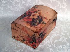 Decoupage jewelry box mini cummode  Romance   by HandmadeDecoupage, via Etsy