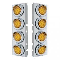 Peterbilt Air Cleaner Bracket Reflector Lights /& Visors Amber LED//Amber Lens