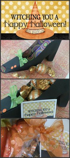 Adorable witch shoe party favor and gift tag for Halloween