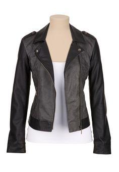Two tone asymmetrical Zip Moto jacket