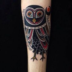 Traditional owl tattoo by Matt Cooley