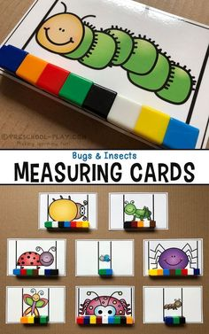 Printable bugs and insects measuring cards for preschool pre-k and kindergarten. An engaging way for students to demonstrate non-standard measurement counting set-recognition the concept of more/less/same and fine motor skills! Insect Activities, Literacy Activities, Measurement Activities, Measurement Kindergarten, Math Literacy, Kindergarten Centers, Preschool Kindergarten, Preschool Classroom Centers, Preschool Bug Theme