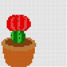 Red Flowering Cactus Perler Bead Pattern