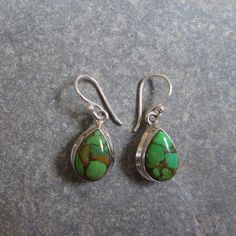 Sterling Silver Green Copper Turquoise Drop Earrings from Bijoux Closet