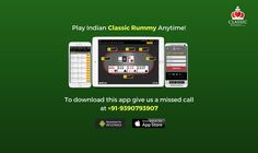 Play Indian Classic Rummy Anytime! To download android & iOS app give us a missed call at +91-9390793907  #card #games #download #diy #play