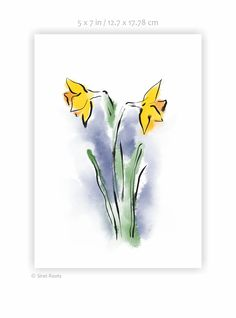 Bright yellow daffodils art print. Ink and watercolor sketch on paper. Flower painting. Art for gallery wall. My Flower, Flowers, Watercolor Sketch, Bright Yellow, Daffodils, Painting Art, Gallery Wall, Sketches, Ink