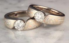 Mokume Wave Engagement Rings.