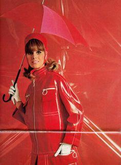 Vintage Red PVC Raincoat