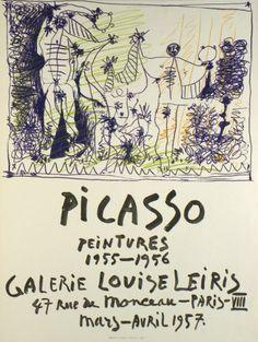 Original Plakate Picasso Original Poster Picasso Affiche original Picasso Titel Picasso Gemälde 1955-1956 Technik Original-Farb-Lithografie