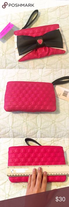 Betsey Johnson Wristlet Large Bow NWT Betsey Johnson Fuchsia Wristlet Large Bow  💟No defects/Flaws 💟Tags still attached to Wristlet 💟Come from a Pet friendly /Smoke Free home 💟Measurements are shown on pictures  💟I can provide additional pictures if requested :) Betsey Johnson Bags Clutches & Wristlets