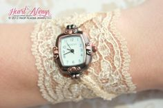 Champagne Lace Watch with Antique Copper Watch Face.
